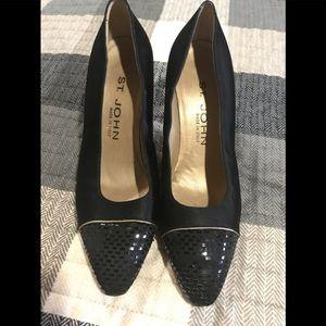 Black satin St. John shoe
